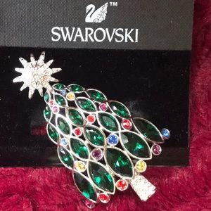 SWAROVSKI SIGNED CRYSTAL XMAS TREE ROCKEFELLER PIN